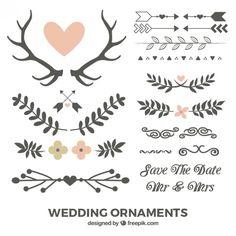 Mão folhas e ornamentos de casamento desenhado