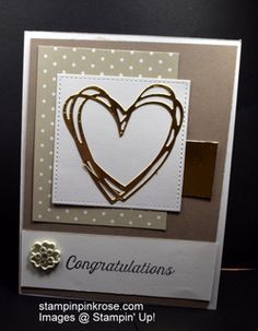 Stampin' Up! Wedding or Anniversary  card made with Sunshine Wishes Framelits and designed by Demo Pamela Sadler.  This uses a framelit to make a beautiful heart.  See more cards at stampinkrose.com #stampinkpinkrose #etsycardstrulyheart