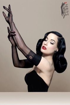 "froufroufashionista: ""Dita Von Teese fully-fashioned seamed Opera length gloves "" Needs"
