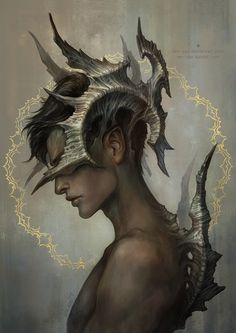 "Super cool and unique design of horns and dorsal spines. Especially love how the horns are sprouting from the BACK of his hairline, from the skin. (""introduced species"" by len-yan on deviantART)"