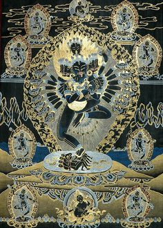 The esoteric dance of Hevajra surrounded by dakini's