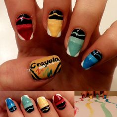 Crayola bright nail art