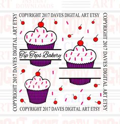 Cupcake clipart great for a company logo or by DavesDigitalArt