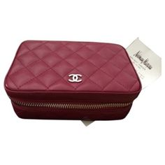 Pre-owned Chanel Quilted Classic Jewelry Case ($1,475) ❤ liked on Polyvore featuring home, home decor, jewelry storage, accessories, burgundy and chanel