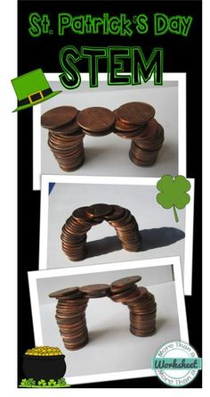 Patrick's Day STEM: Coin Bridge The luck of the Irish was with you, and you found the pot of gold! Now…to escape the leprechauns, you must build a bridge out of coins! Fun STEM engineering challenge from More Than a Worksheet Steam Activities, Holiday Activities, Science Activities, Science Experiments, Science Books, Science Crafts, Science Notebooks, Team Building Activities, Stem Science