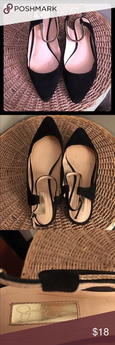 Jessica Simpson Black Flat with open back Only wear once! A very cute and stylish pair. Leather inside made it very comfortable to wear! Jessica Simpson Shoes Flats & Loafers