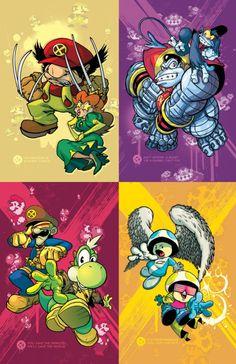 Nintendo characters as X-Men Nintendo Characters, Comic Book Characters, Comic Books Art, Comic Art, Book Art, Diddy Kong, Video Game Art, Video Games, Super Mario Bros