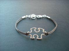 matte silver puzzle piece bracelet by Lana0Crystal on Etsy, $19.00