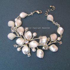 Ivory Swarovski Pearl Vine Bridal Bracelet  Wide by adriajewelry, $46.50