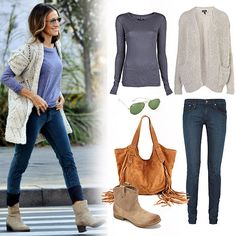 skinnies w/ a simple tee and cozy cardigan, ankle boots. The key here were smart proportions — the long-sleeved tee peeked out from the cardigan, the skinny jeans offset the slouchiness of the sweater, and they were perfectly cuffed to show off the booties