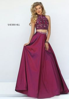 9878de5aaf Wine Sherri Hill 32366 Multi Beads Sexy Two Piece Prom Dress