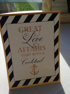 Cute Nautical Wedding Sign for table with signature drink = change the sign