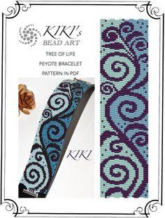 Pattern, peyote bracelet - Tree of life peyote bracelet pattern PDF instant download