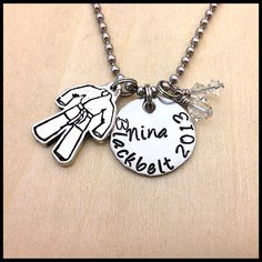 Hand Stamped Martial Arts Necklace Swarovski Crystal Can be in Team Uniform Color School Colors Belt Color Karate Mom tae kwon do
