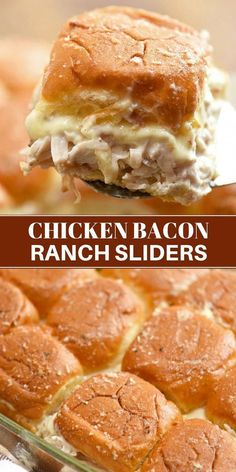 Chicken Bacon Ranch Sliders perfect weeknight dinners potlucks or game day parties. With loads of shredded chicken bacon swiss cheese and ranch flavor these mini sandwiches are hearty and tasty Fingerfood Recipes, Appetizer Recipes, Chicken Appetizers, Bacon Recipes Potluck, Burger Recipes, Hot Sandwich Recipes, Bacon Recipes For Dinner, Sausage Recipes, Brownie Recipes