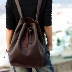 Handmade Genuine Leather Backpack Satchel Day Pack Traveling Bag