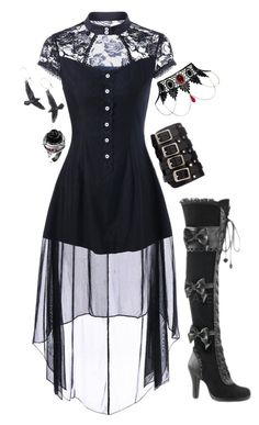 """""""Wednesday Addams"""" by jasontoddleovaldezlover ❤ liked on Polyvore featuring Demonia"""