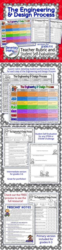 4 point rubric and student self evaluations for each step of the engineering and design process | Use with any STEM or STEAM challenge! | Intermediate version for upper elementary, grades 3-6 | Primary version for grades K-3 | Include these with your students' STEM portfolios!