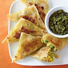 Curried Vegetable Samosas with Cilantro-Mint Chutney | CookingLight.com