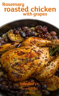 The flavours of fragrant rosemary and fruity grapes make this roast chicken recipe (using kosher meat and wine) a great roast alternative Rosemary Roasted Chicken, Great Roasts, Roast Chicken Recipes, Healthy Food, Healthy Recipes, Sunday Roast, Sainsburys, Recipe Using, Tandoori Chicken