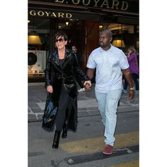 Kris Jenner was spotted with boyfriend Corey Gamble leaving the Maison Goyard store during Paris fashion Week.