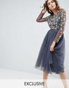 Платье миди с длинными рукавами и вышивкой Needle and Thread