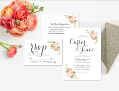 Rustic Floral Wedding Suite  Custom PRINTABLE RSVP by ItsyBelle