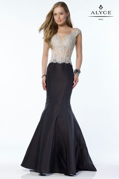 Alyce Black Label 27101 Mikado trumpet style gown with an embellished corset bodice with a small capped sleeve. Mermaid Skirt, Mermaid Gown, Mermaid Dresses, Grad Dresses, Evening Dresses, Bridesmaid Dresses, Mothers Dresses, Prom Dress, Bridesmaids