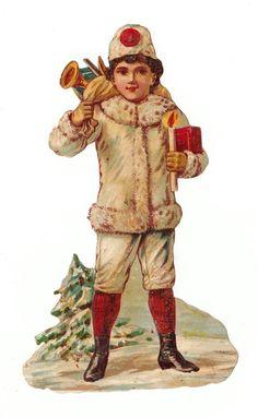 Oblaten Glanzbild  scrap die cut chromo Winterjunge mit Kerze: