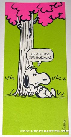 Peanuts Postcards | CollectPeanuts.com - Snoopy under tree 'We all have our hang-ups' Postcard