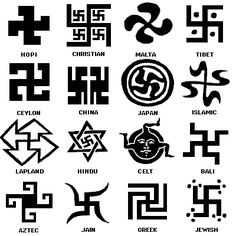 Swatstikas in global cultures. They were an ancient religious symbol in many cultures. Didn't realize there were so many forms! Don't like its most recent use by Hitler, but some peoples traced these out, according to their beliefs, as would some people trace crosses or another religious symbols. Hitler used the symbol for negative stuff. It hasn't always been so in other cultures/beliefs.