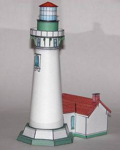 Here is a really beautiful lighthouse paper model from fiddlersgreen.net.  Yaquina lighthouse. Another fun build that has wonderful details and looks great displayed in our home.