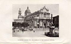 Antique print :Sicily / Catania Cathedral square fountain / stampa antica 1922