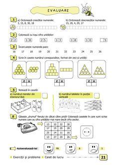 Clasa I : Matematică şi explorarea mediului. Clasa I. Partea I - (E1) 1st Grade Math Worksheets, Worksheets For Kids, Activities For Kids, Visual Perceptual Activities, Preschool Math, Kids Education, Math Lessons, Homeschool, Classroom