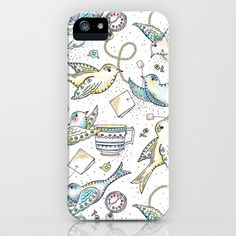 Twittering Tea Party iPhone Case by Heather Dutton - $35.00