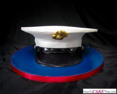 USMC Cover Cake Tutorial! Learn how to make this entirely edible US Marine Corps cover (hat) in this easy to follow photo tutorial!