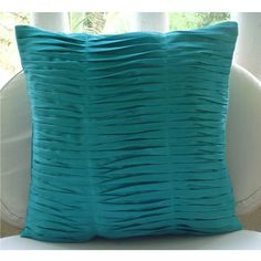 Gentle Waves- Throw Pillow Covers - 20x20 Inches Silk Pillow Cover with Pintucks. $25.80, via Etsy.