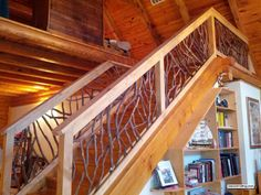 Stair, : Wonderful Rustic Staircase Design Ideas With Tree Branch Railing Including Dark Brown Wood Staircase Step Wooden Staircase Railing, Loft Railing, Interior Stair Railing, Rustic Staircase, Wrought Iron Stair Railing, Interior Balcony, Stair Railing Design, Stair Handrail, Wooden Stairs