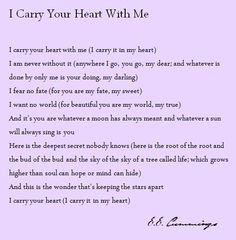 I Carry Your Heart With Me - E.E. Cummings
