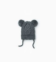 Image 1 of Pompom cable knit hat from Zara
