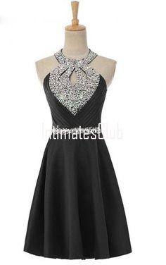 Real Image Black Halter Short Knee Length Homecoming dress