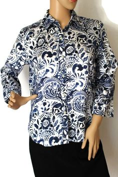 RALPH LAUREN Women's Blue White Floral Paisley Print Blouse Shirt Top PM #LaurenRalphLauren #ButtonDownShirt