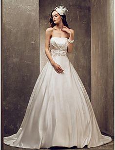 Glamorös och dramatisk/Elegant och lyxig A-linje Brudklänning (Satin) Axelbandslös Hovsläp