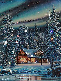 Beautiful Glittering Winter Landscape o. Christmas Scenery, Christmas Images, Country Christmas, Christmas Art, Christmas Greetings, Winter Christmas, Christmas Lights, Christmas Decorations, Xmas