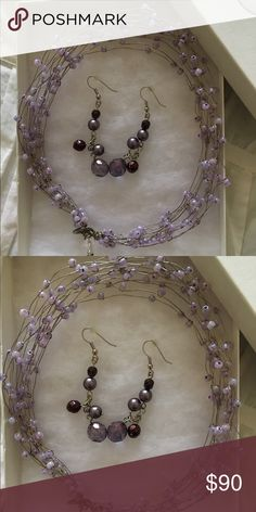 Necklace and earrings Beautiful lavender and purple beads on wire choker and earrings.  Hand made one of a kind original Jewelry Necklaces