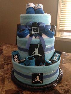 Michael Jordan inspired Blue Diaper Cake Michael Jordan inspired