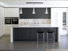 Roundhouse bespoke kitchen island in contemporary kitchen Contrasting coloured units break it up Kitchen Island Lighting Modern, Contemporary Kitchen Island, Modern Kitchen Design, Contemporary Decor, Interior Design Kitchen, White Kitchen Island, Contemporary Wallpaper, Kitchen Islands, Modern Kitchens With Islands