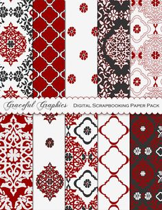 """Red Damask Digital Paper: """"RED DAMASK PAPERS""""  Damask Backgrounds Paper with Asian Lantern Patterns in Red Gray White Oriental Damask 2082gg"""