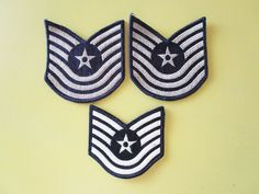 Air Force Patch Star 5 & 6 Stripes Vintage Military Lot of 3 Sew on