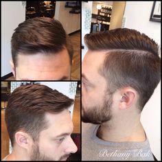 Classic men's style with razor part. So dapper!